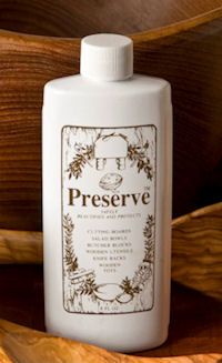 Preserve Woodenware Oil, a natural food-safe oil for wood, cutting boards and butcher block.
